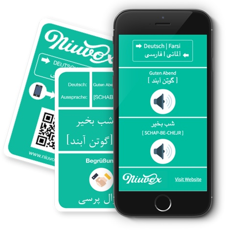 Niuvox learning cards - German - Arabic, German - Farsi, Smartphone